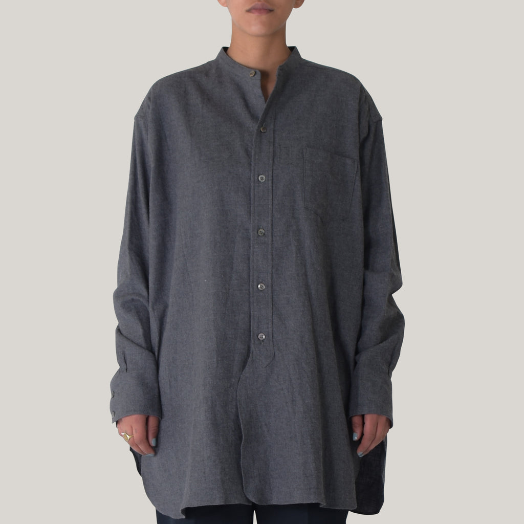 LENO BAND COLLAR BIG SHIRT - GRAY