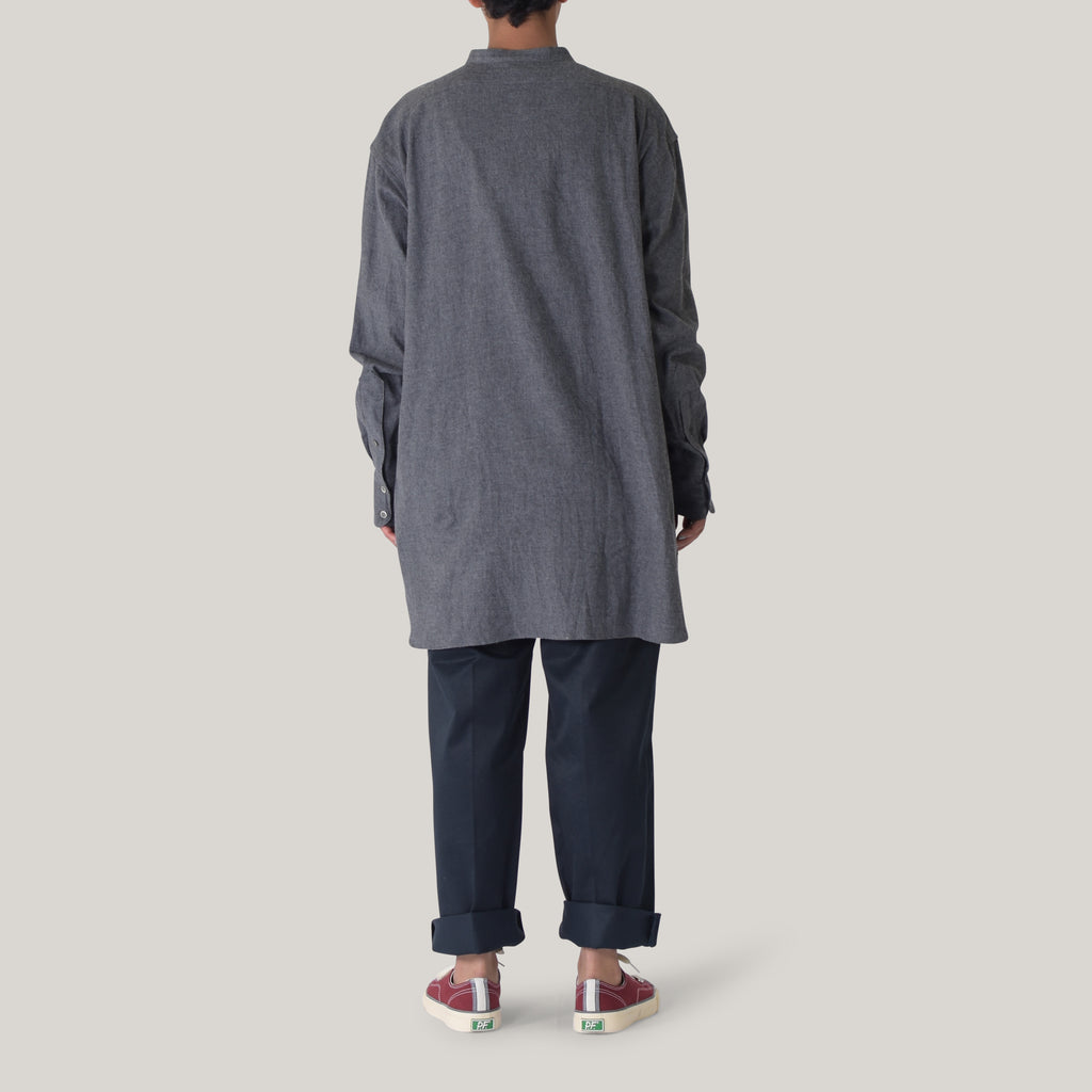 LENO BAND COLLAR BIG SHIRT - CHARCOAL
