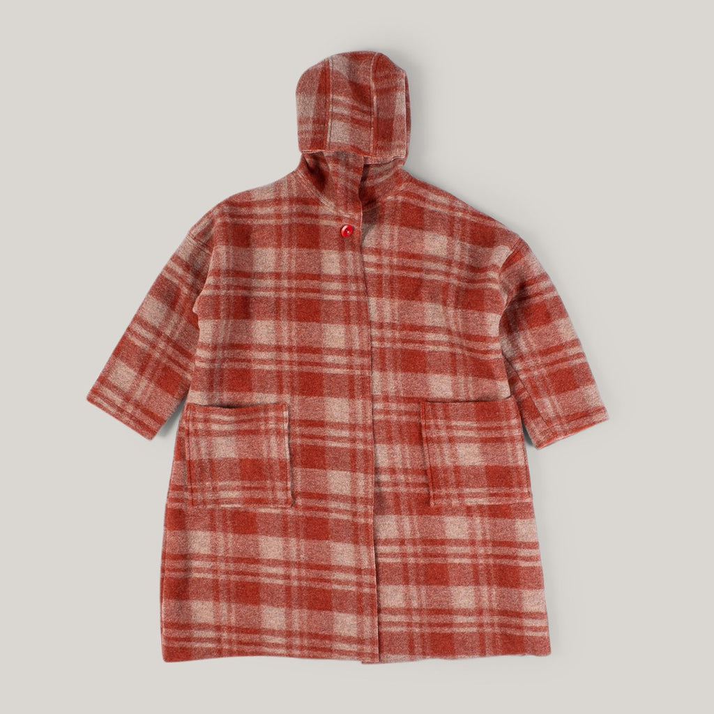 NIGEL CABOURN WOMAN BLANKET JACKET - ORANGE CHECK