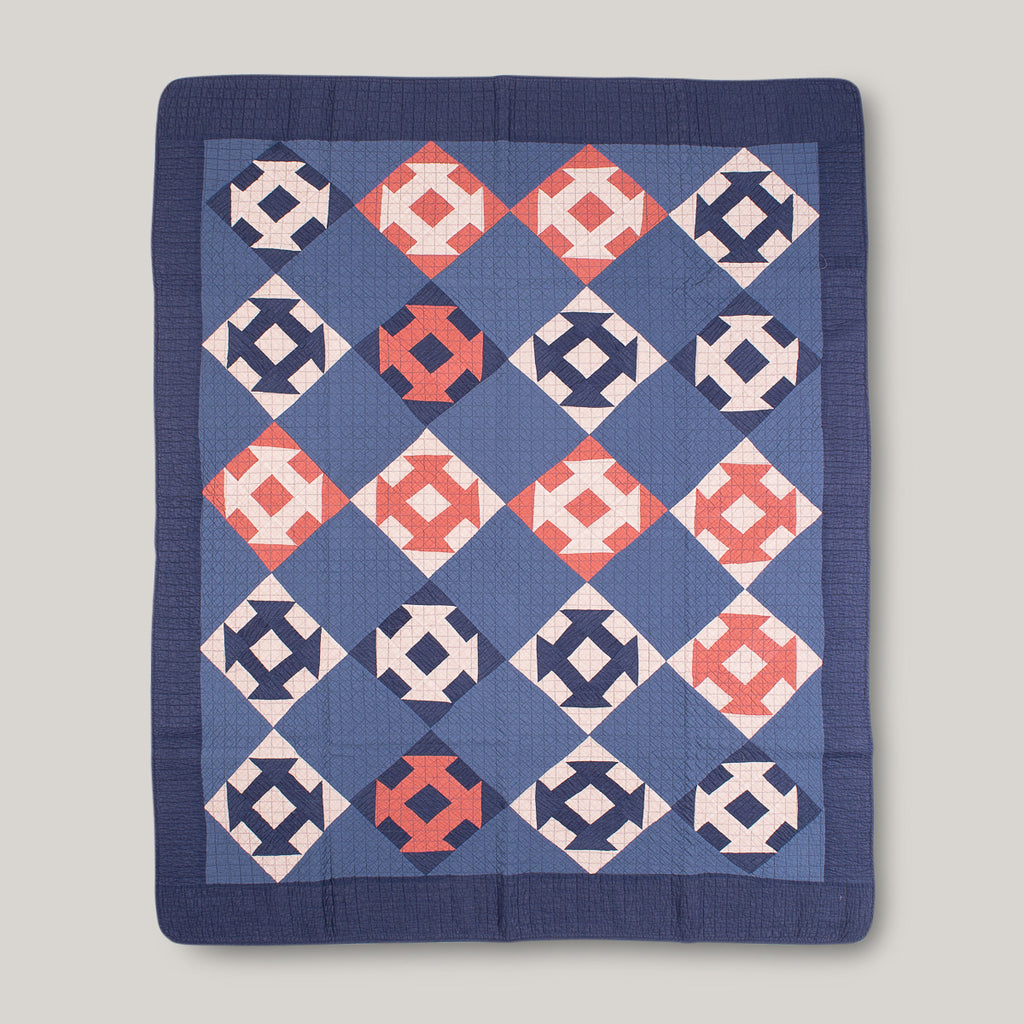 BASSHU PATCHWORK QUILT COVER - NAVY