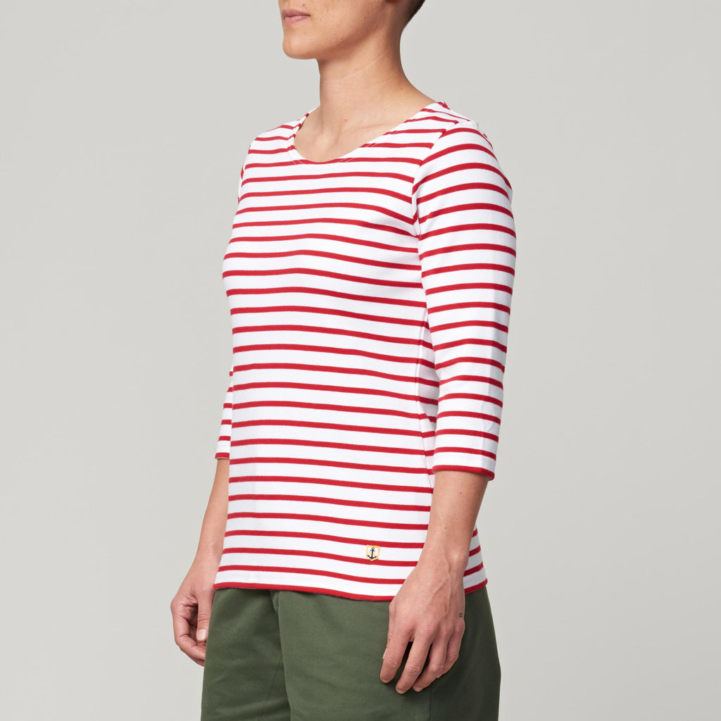 ARMOR LUX SAILOR SHIRT HERITAGE - WHITE/DARK RED