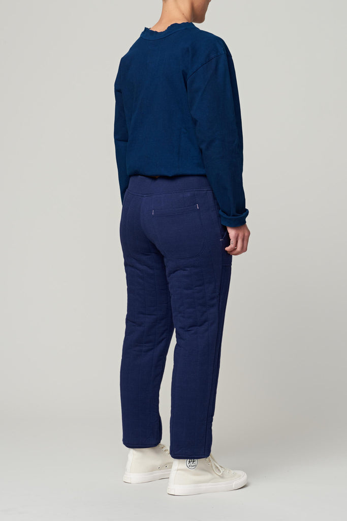 W'MENSWEAR QUILTED SWEATPANT - NAVY