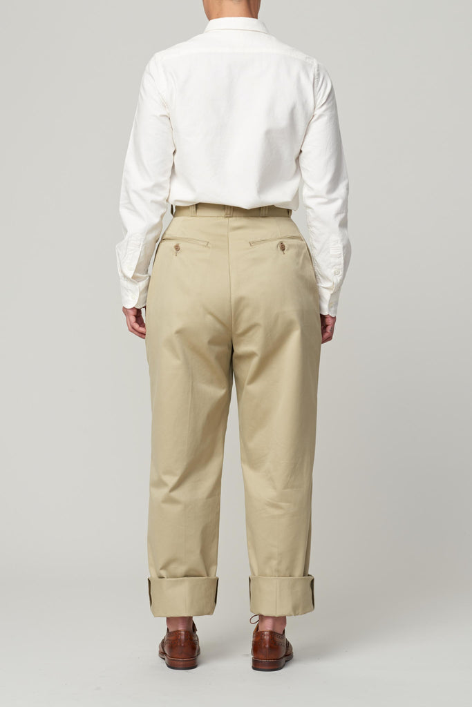 LENO CHINO TROUSERS - BEIGE