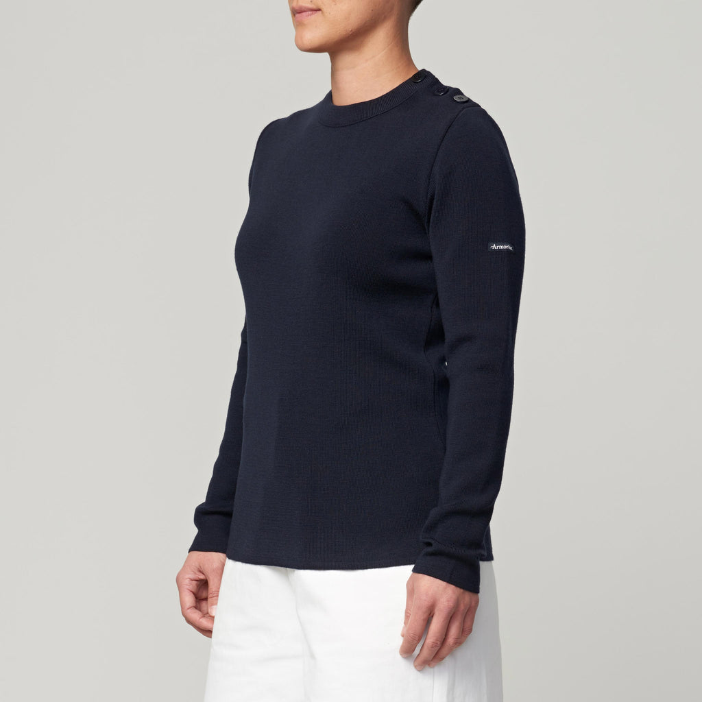 ARMOR LUX SWEATER W/SHOULDER BUTTONS - DARK NAVY