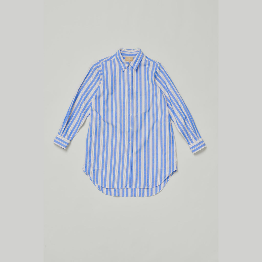 NIGEL CABOURN WOMEN'S LONG SHIRT- BLUE