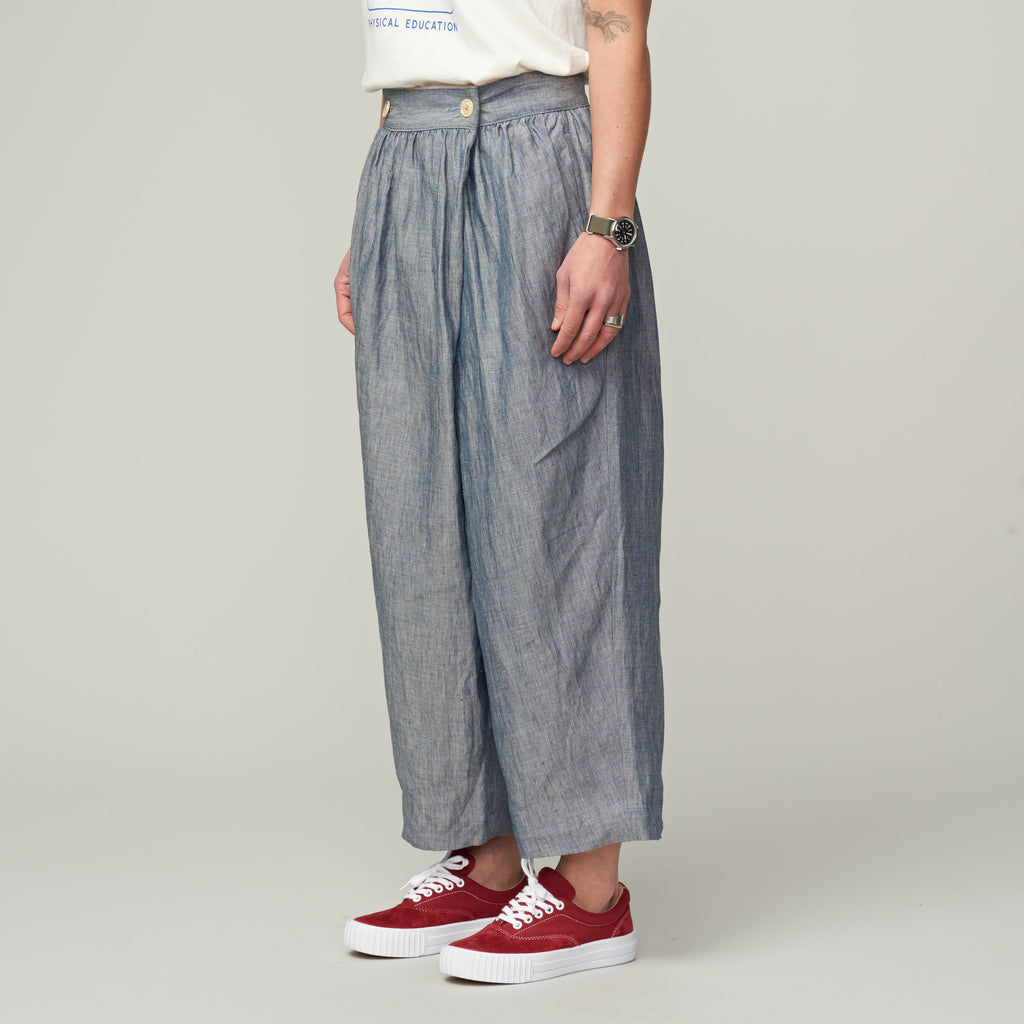 NIGEL CABOURN WOMAN - FARMER'S PANT LINEN CHAMBRAY