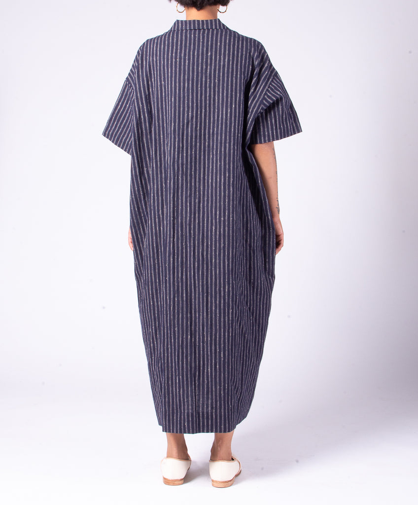SNOW PEAK C/L STRIPED LONG SHIRT - NAVY