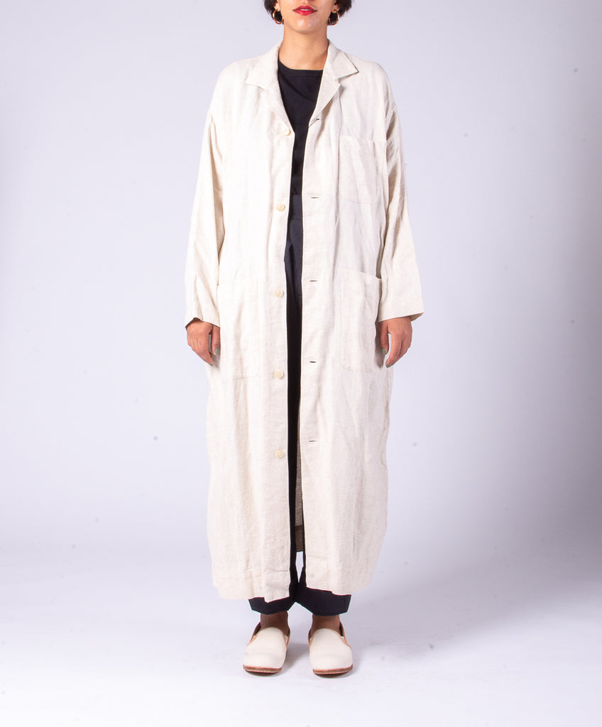 SNOW PEAK C/L DOBBY LONG SHIRT - NATURAL