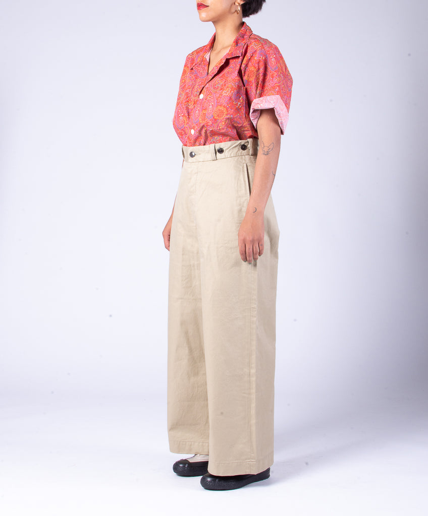 NIGEL CABOURN WOMAN WIDE CHINO PANT - BEIGE