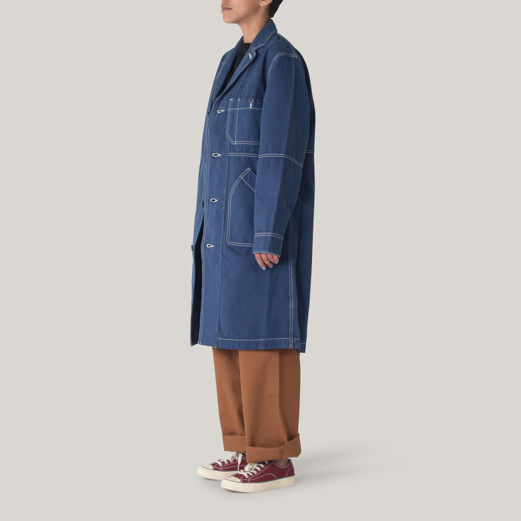 SNOW PEAK ORGANIC COTTON DUSTER COAT - NAVY