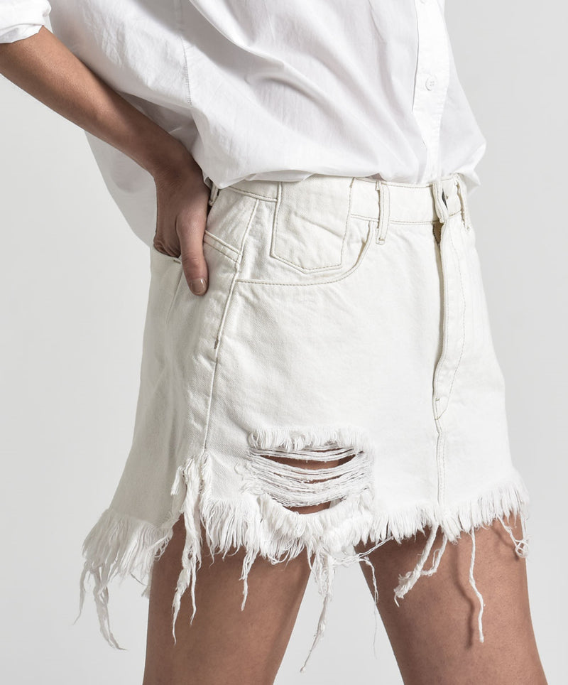 One Teaspoon - NATURAL WHITE VANGUARD MID RISE RELAXED DENIM MINI SKIRT
