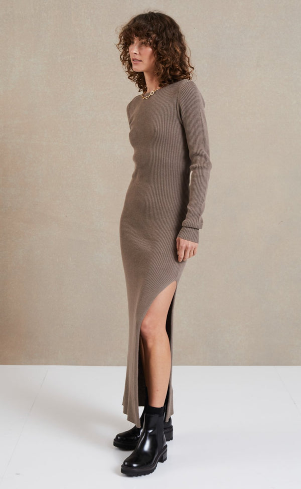 BEC + BRIDGE - RIVIERA LONG SLEEVE MIDI DRESS (SLIT)