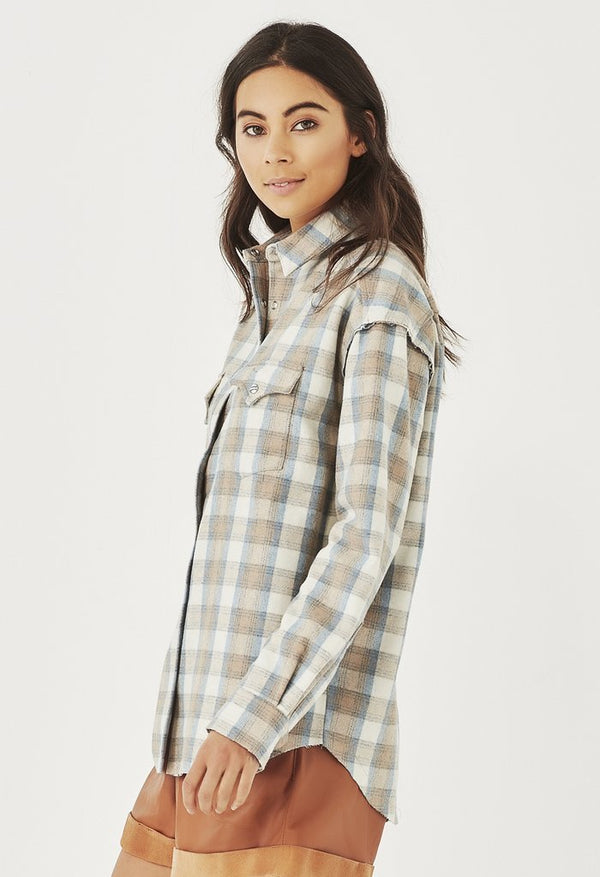 REMAIN - BILLIE FLANNEL SHIRT (SAND CHECK)