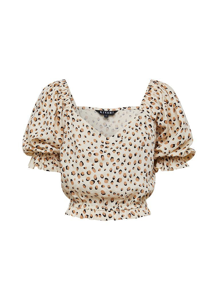 Kivari - Valentina Leopard Off Shoulder Linen Top
