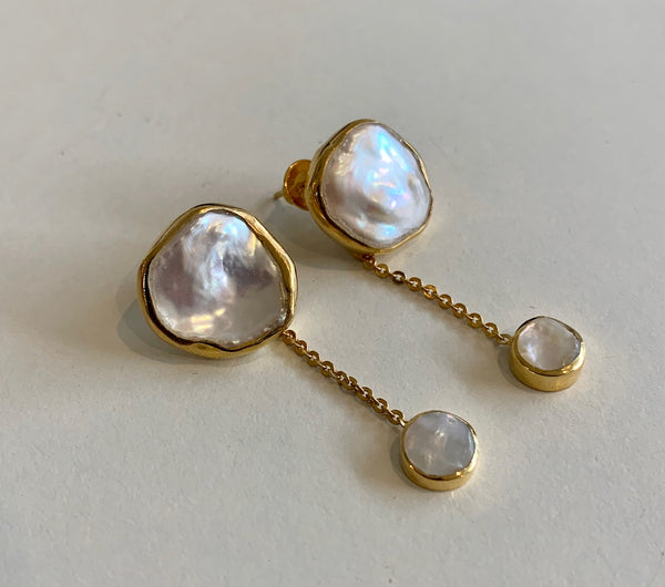 "Hiraani - ""Kelly"" Keshi Pearl Earrings"