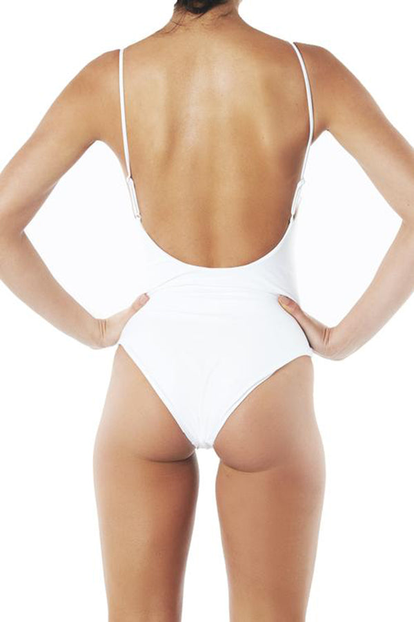 INC Swim - HIGH CUT ONE PIECE - WHITE