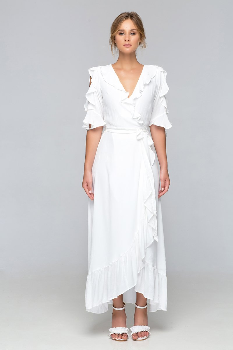 Palma - Sharona wrap Maxi Dress (White)