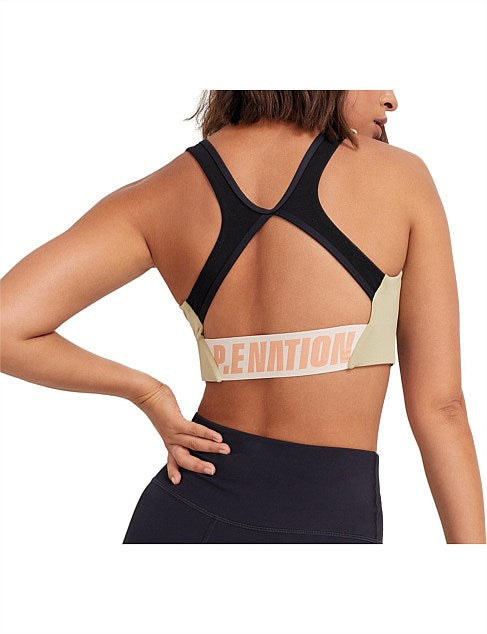 P.E NATION - DOUBLE TEAM OLIVE GREY SPORTS BRA