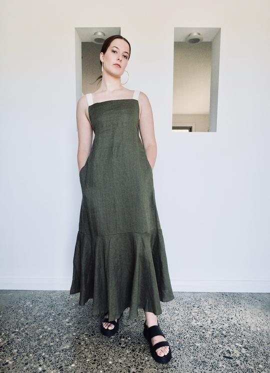 HATTIE THE LABEL - Fluted Maxi Dress (Khaki)