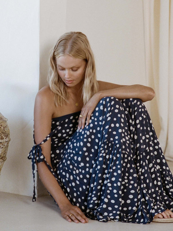 KIVARI - Victoria Polka Strappy Maxi Dress (Navy Polka)