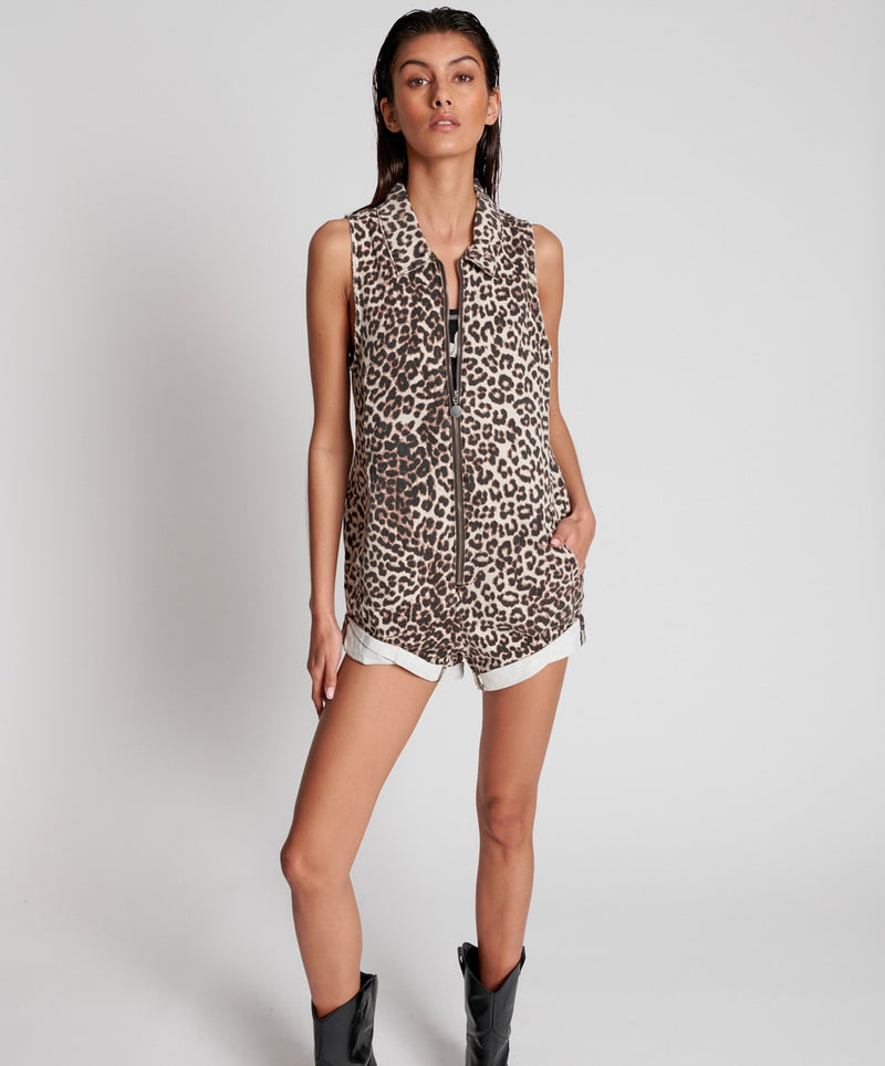 ONE TEASPOON - Animal Zip Through Mini Braxton Jumpsuit