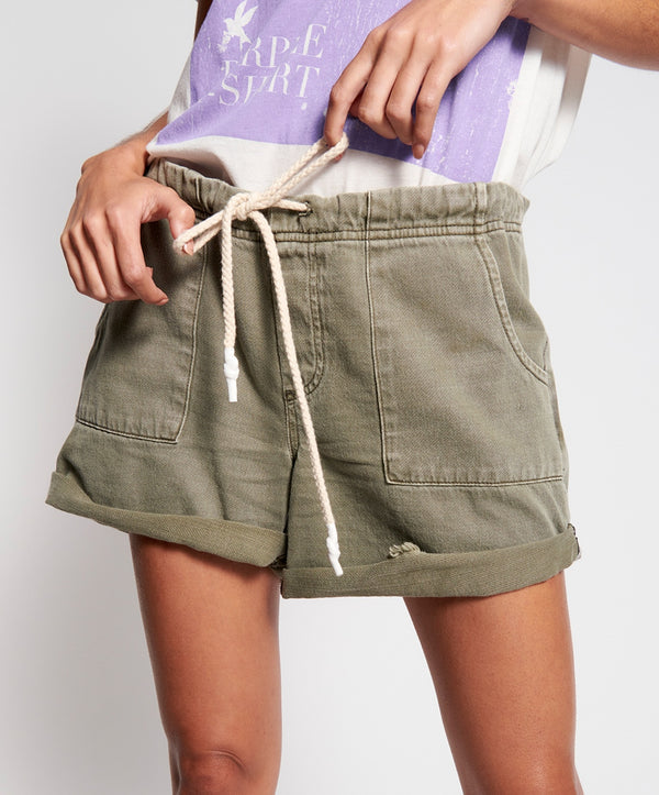 ONE TEASPOON - Vintage Khaki Shabby Bandit Denim Short