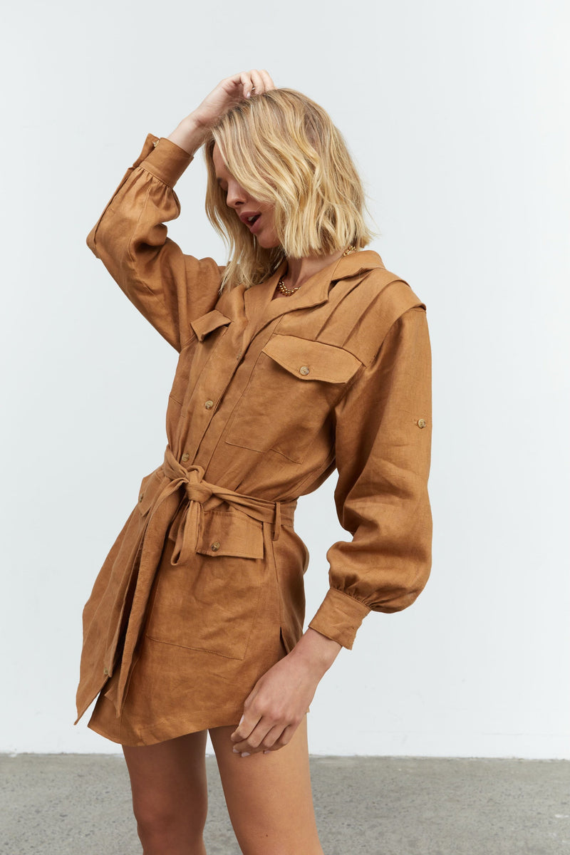 SOVERE STUDIO - Rival Shirt Dress (Toffee)