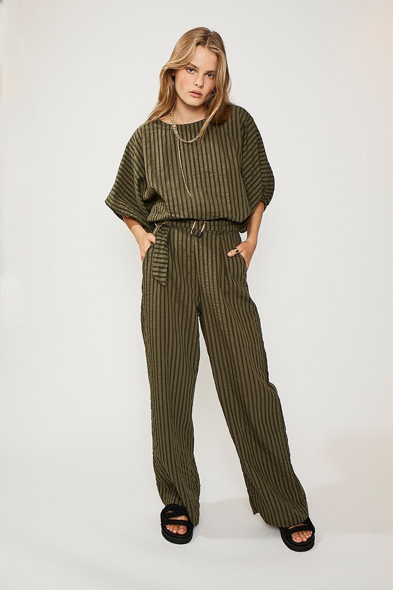 SUBOO - Queenie Paper-Bag Pant (Olive Green)