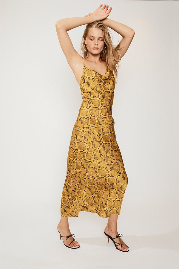 SUBOO - Rae Cowl Neck Slip Dress (Yellow Snake)