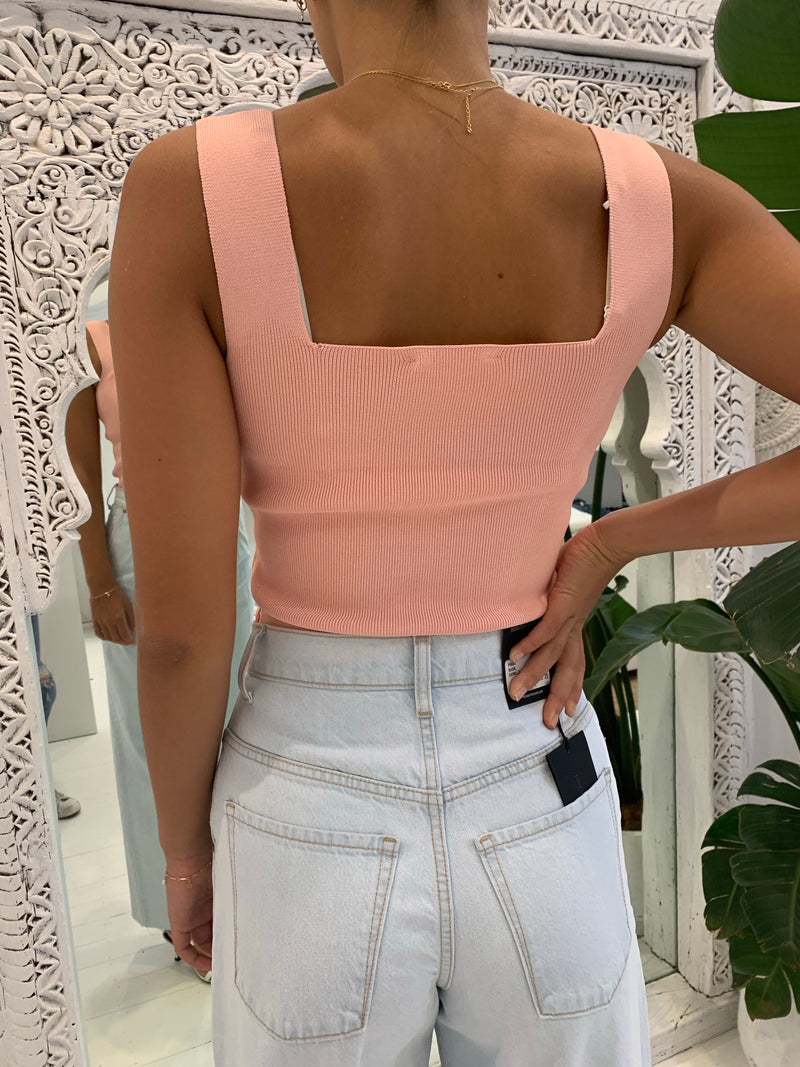 WHITE BY FTL - Becca Crepe Knit Top (Peach)