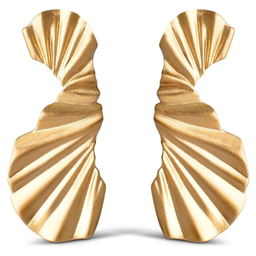 BIG WAVE EARRING, GOLD-Enamel-minlillebutik