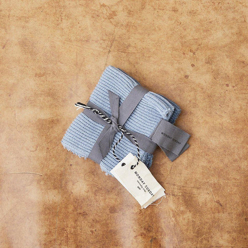 2-PACK CATARINA RIB DISH CLOTH, BLUE-Monday Sunday-minlillebutik