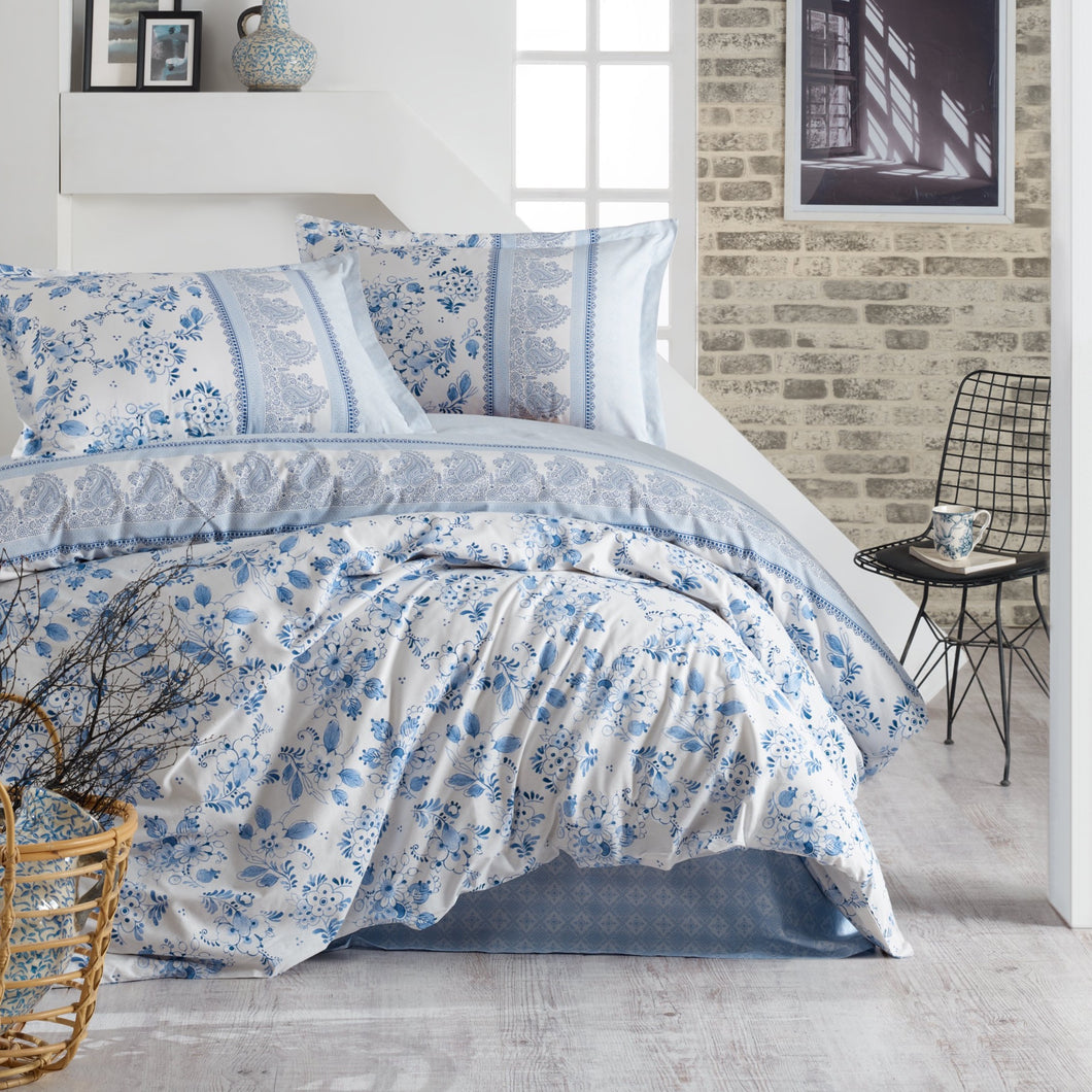 Edura 100% Cotton Duvet Cover set from Turkey. Includes 2 matching Oxford pillowcases