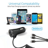 3-in-1 Multifunctional Universal Car Charger with Dual USB Ports