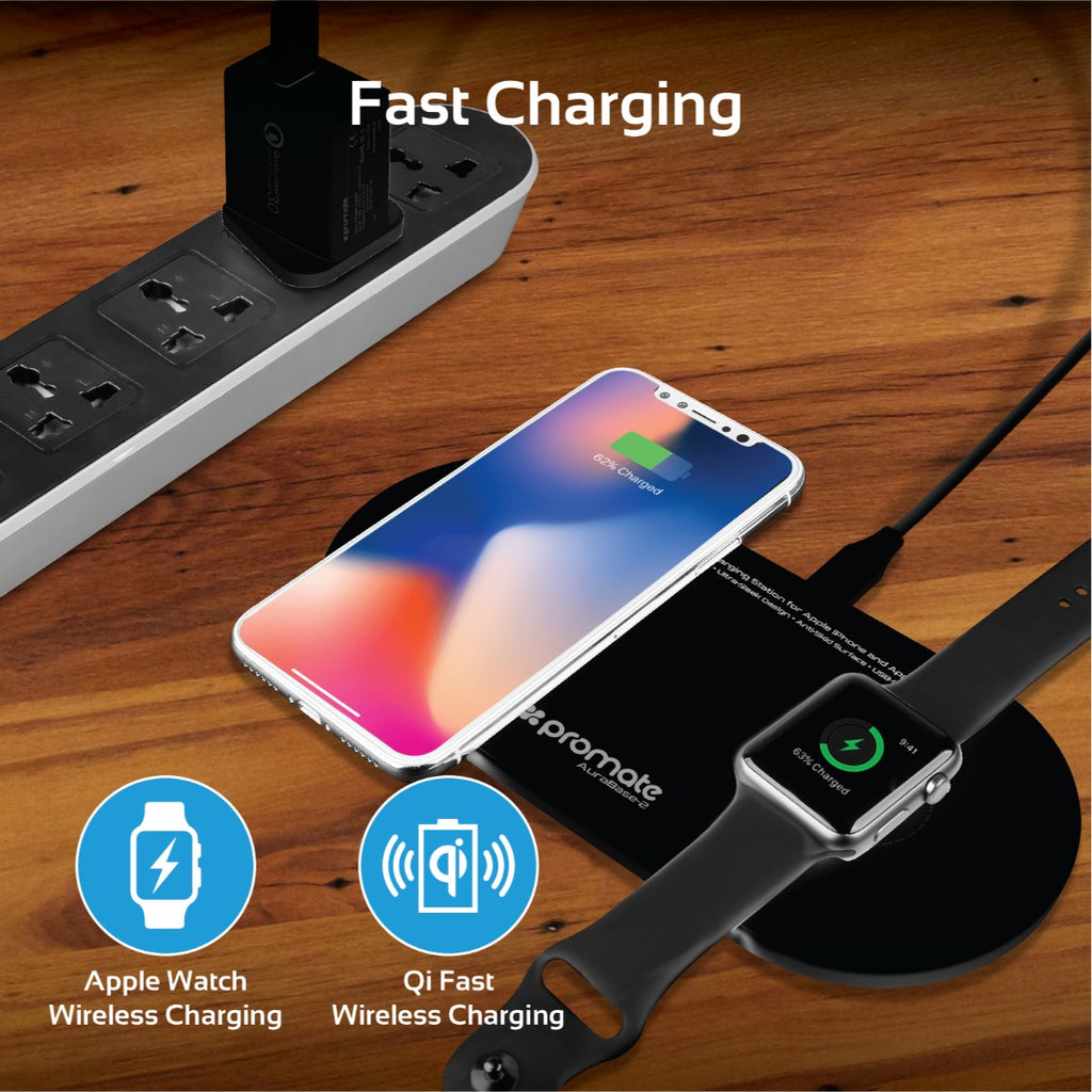 Dual Fast Wireless charging station for Apple iPhone and Apple Watch