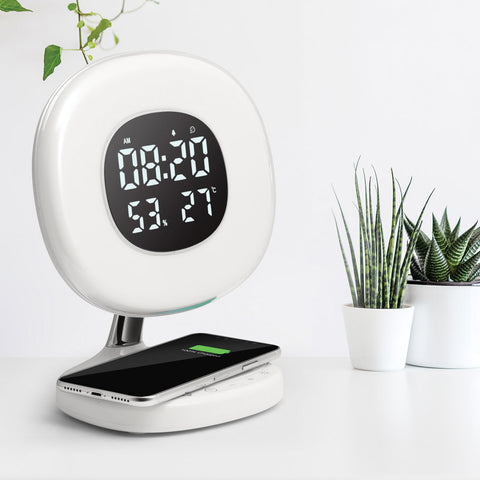 Digital Alarm Clock with 6 color LED and Wireless Charging Station
