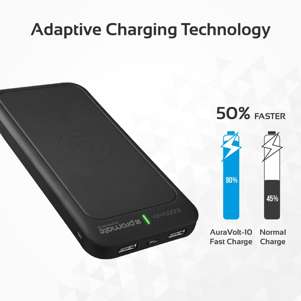 10,000mAh Qi Wireless Charging Power Bank
