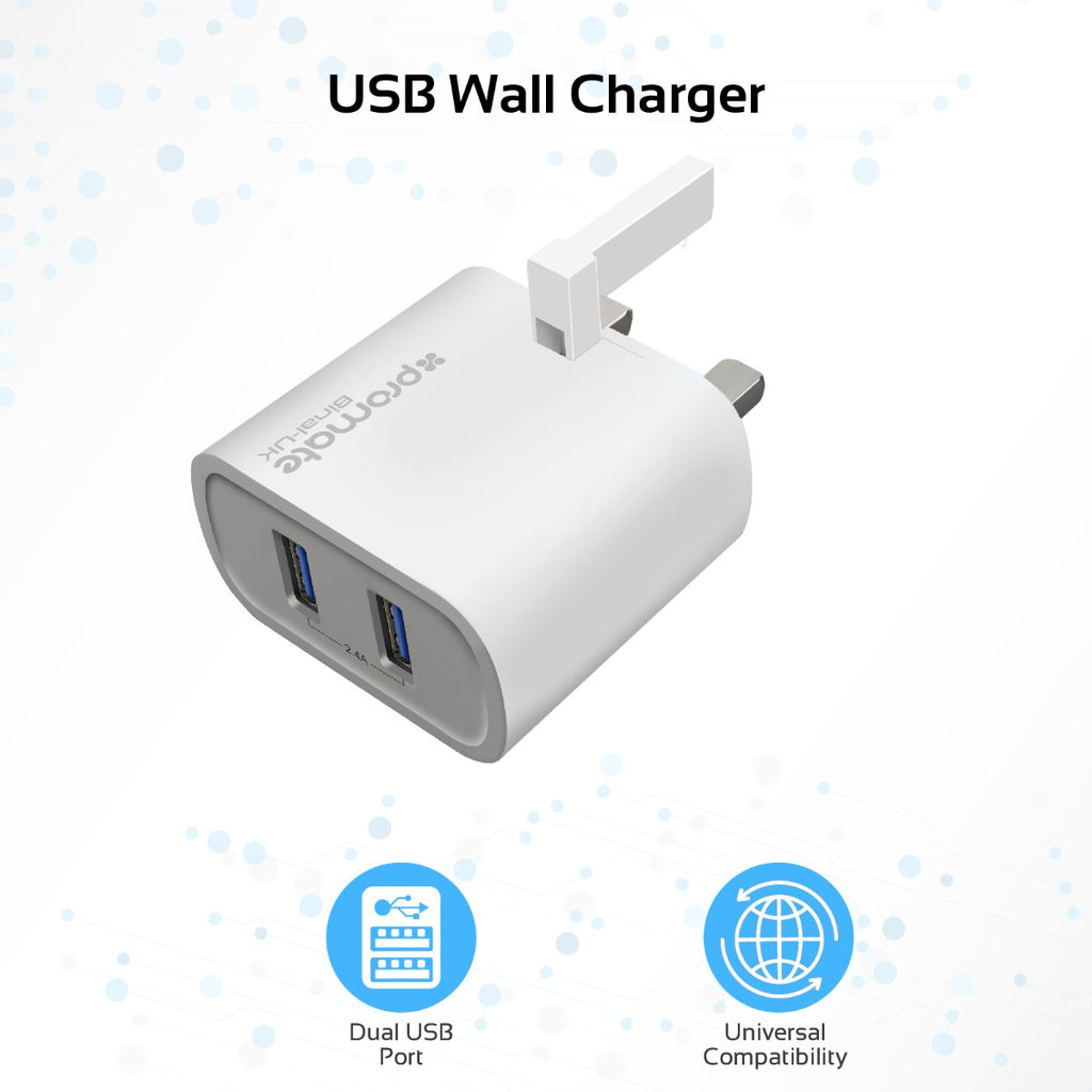 24a Ultra Compact Dual Usb Port Wall Charger Universal For All Mobil Car Saver Tablet Smartphone Promate Technologies