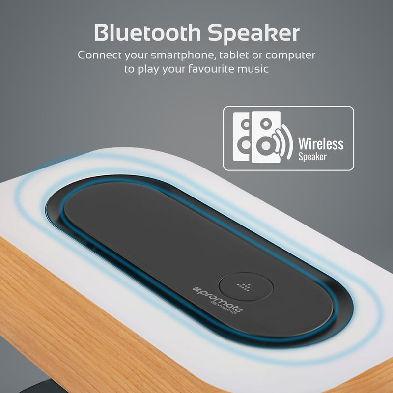 Wireless Stereo Speaker with Wireless Charging Station and LED Lamp