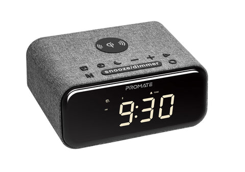 Wireless Charging Alarm Clock with Stereo Wireless Speaker and Handsfree Support