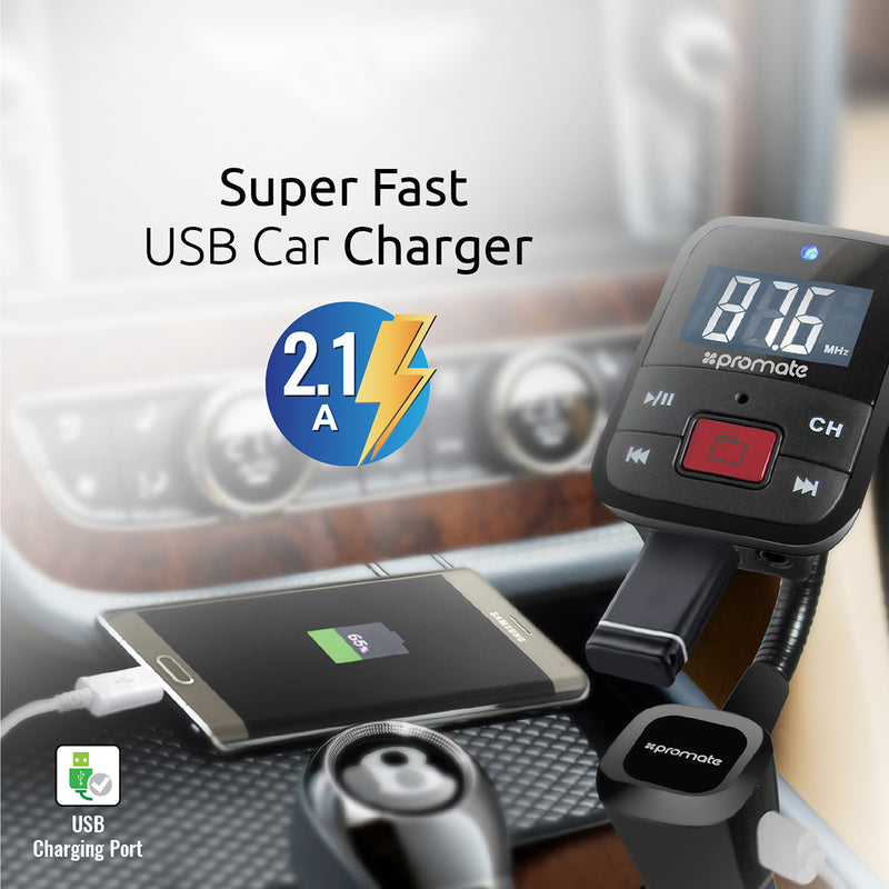 Universal In-Car Transmitter with USB Charging Port for Smartphones & Tablets