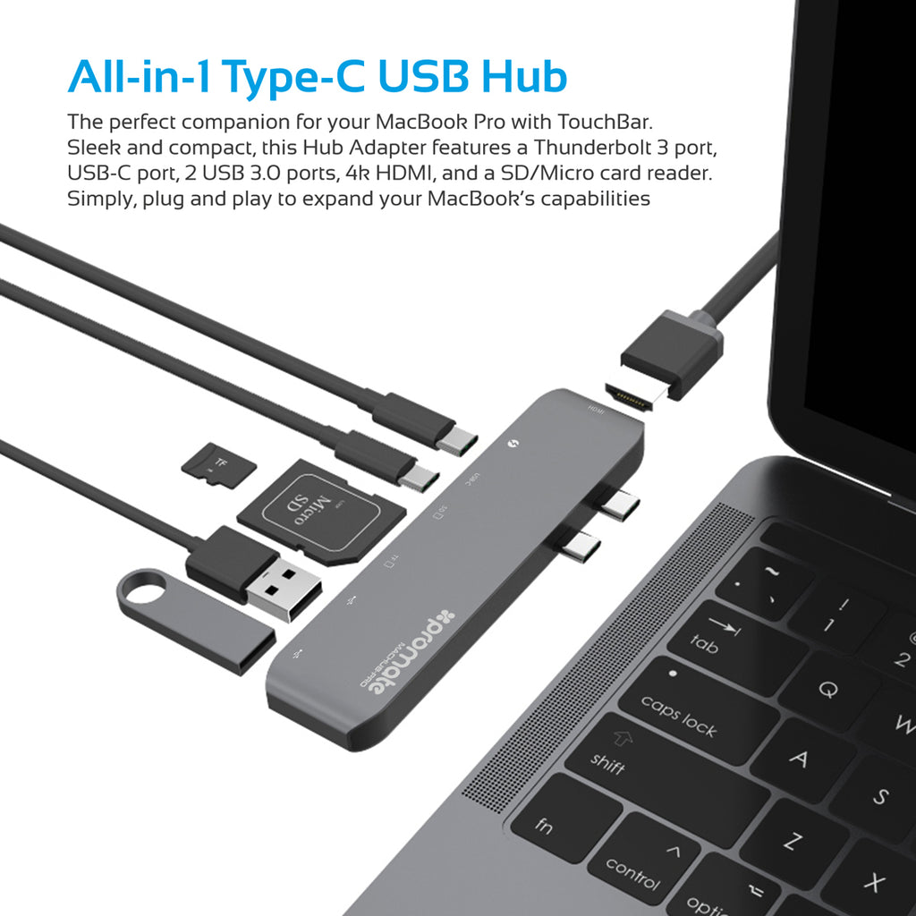 Reclaimed Circuit Board Mouse Pad High Speed Usb Type C Hub With Thunderbolt 3 Support For Macbook Pro Promate Technologies