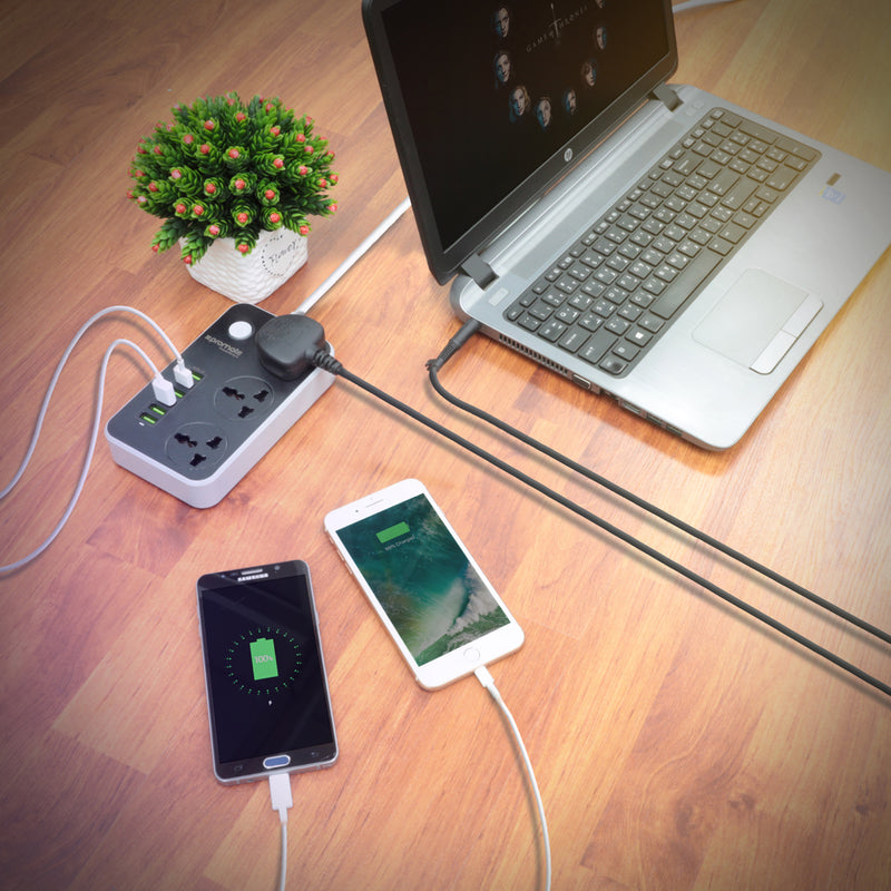 2500W Universal Power Strip with 6 USB Charging Ports and 3 Universal Power Sockets.