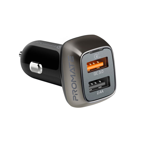 QC 3.0 Car Charger with 30 Watt Dual USB Ports