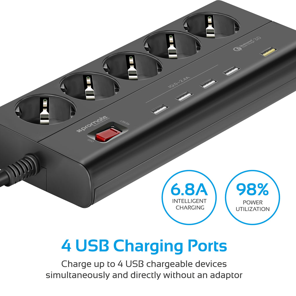 4000W/16AMultiport Power Strip with QUALCOMM Quick Charge 3.0 – Promate  Technologies