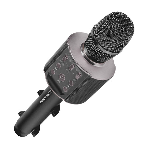Multi-Purpose Wireless Karaoke Microphone with LED Light and Phone Holder