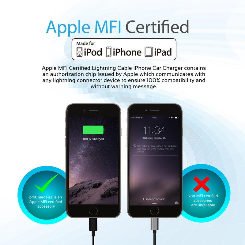 Car Charger with Lightning Connector for iPad, iPhone, and