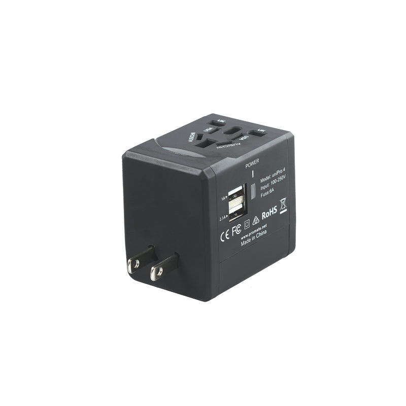 Multi-Regional Travel Adapter with Two USB Charging Ports