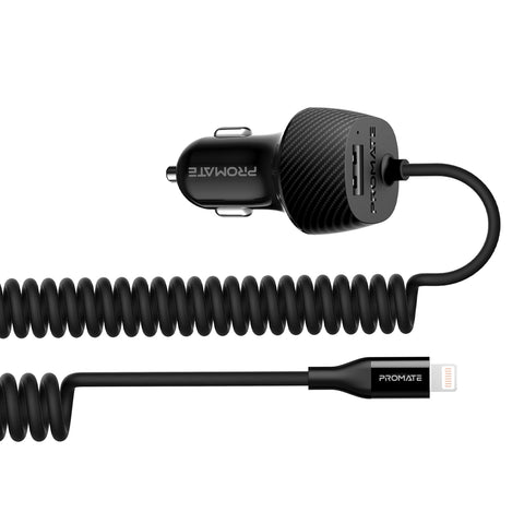 3.4A Car Charger with Lightning Coiled Cable