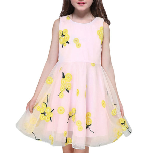 Girl Princess Dress w/ Yellow Flowers - For Kids